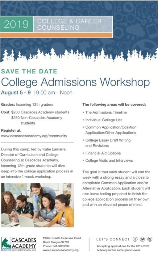 College Admissions Workshop Aug. 5-9